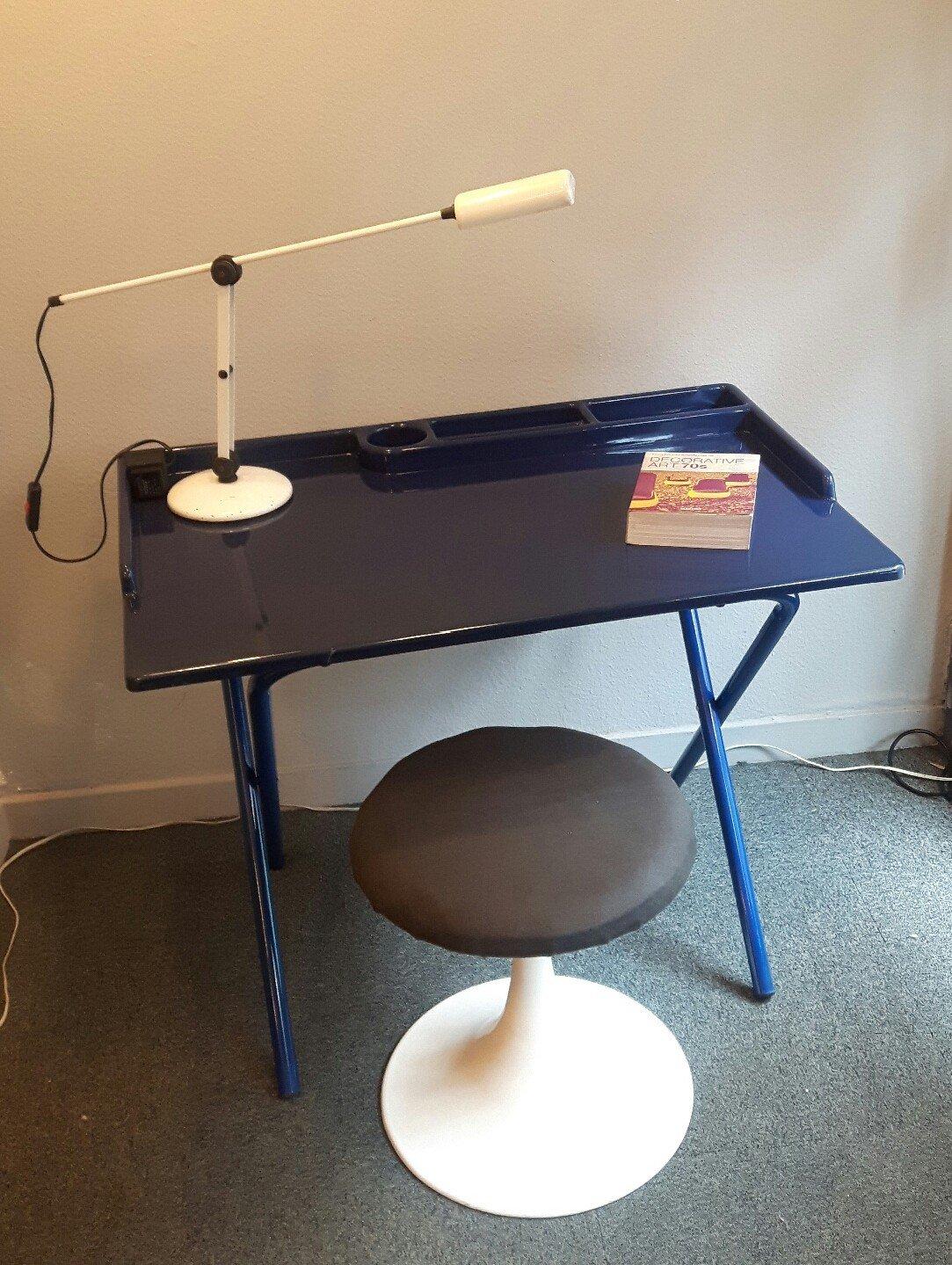 Dark Blue Desk In Plasticetal 1970s Previous Next