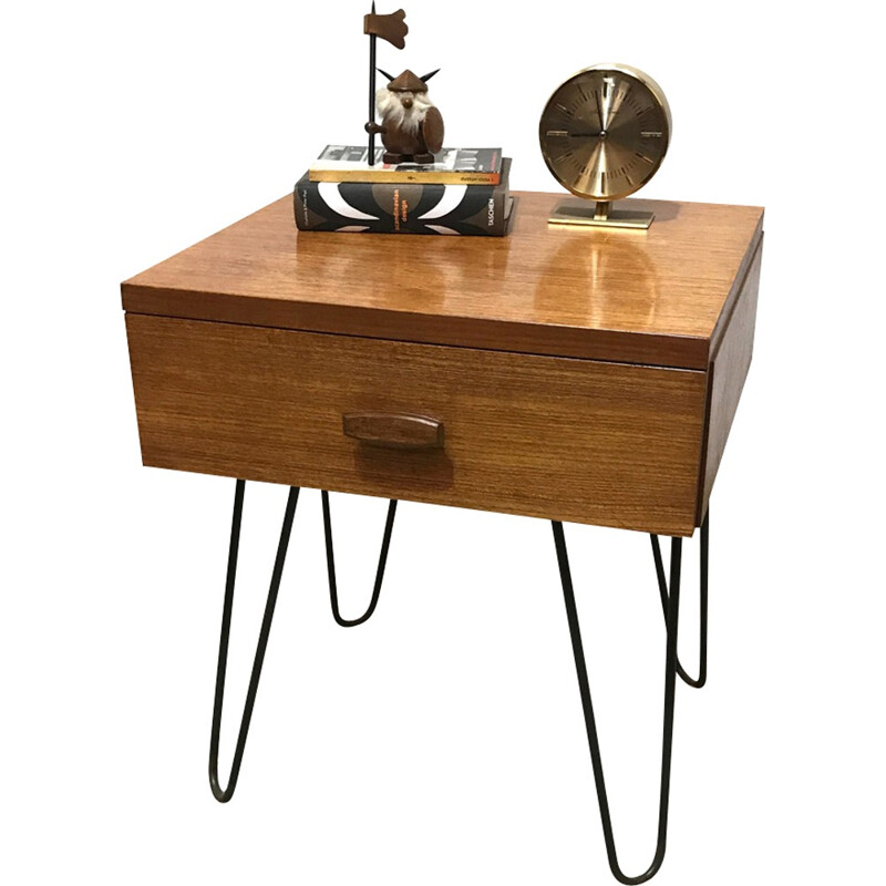 G-plan mid-century vintage industrial Quadrille side table - 1960s