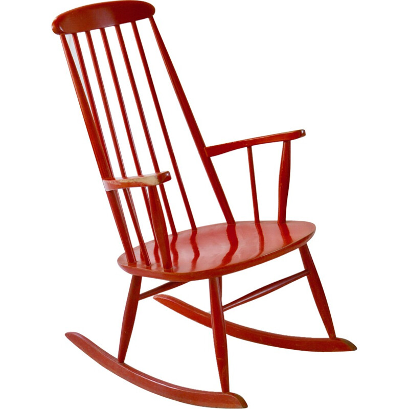 Red rocking chair produced by Farstrup Mobler - 1960s