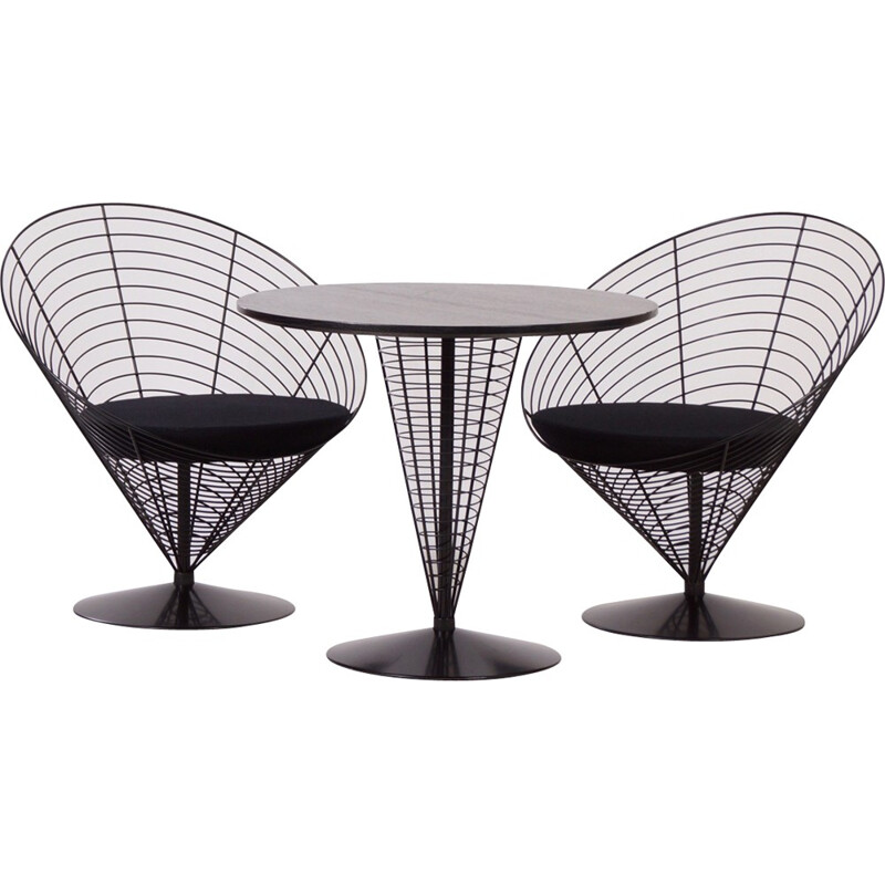 Black wire dining set by Verner Panton from Fritz Hansen - 1980s