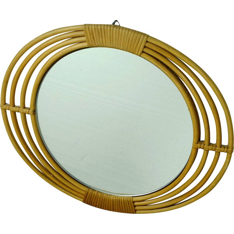 Beige mirror in rattan and glass with oval frame - 1950s