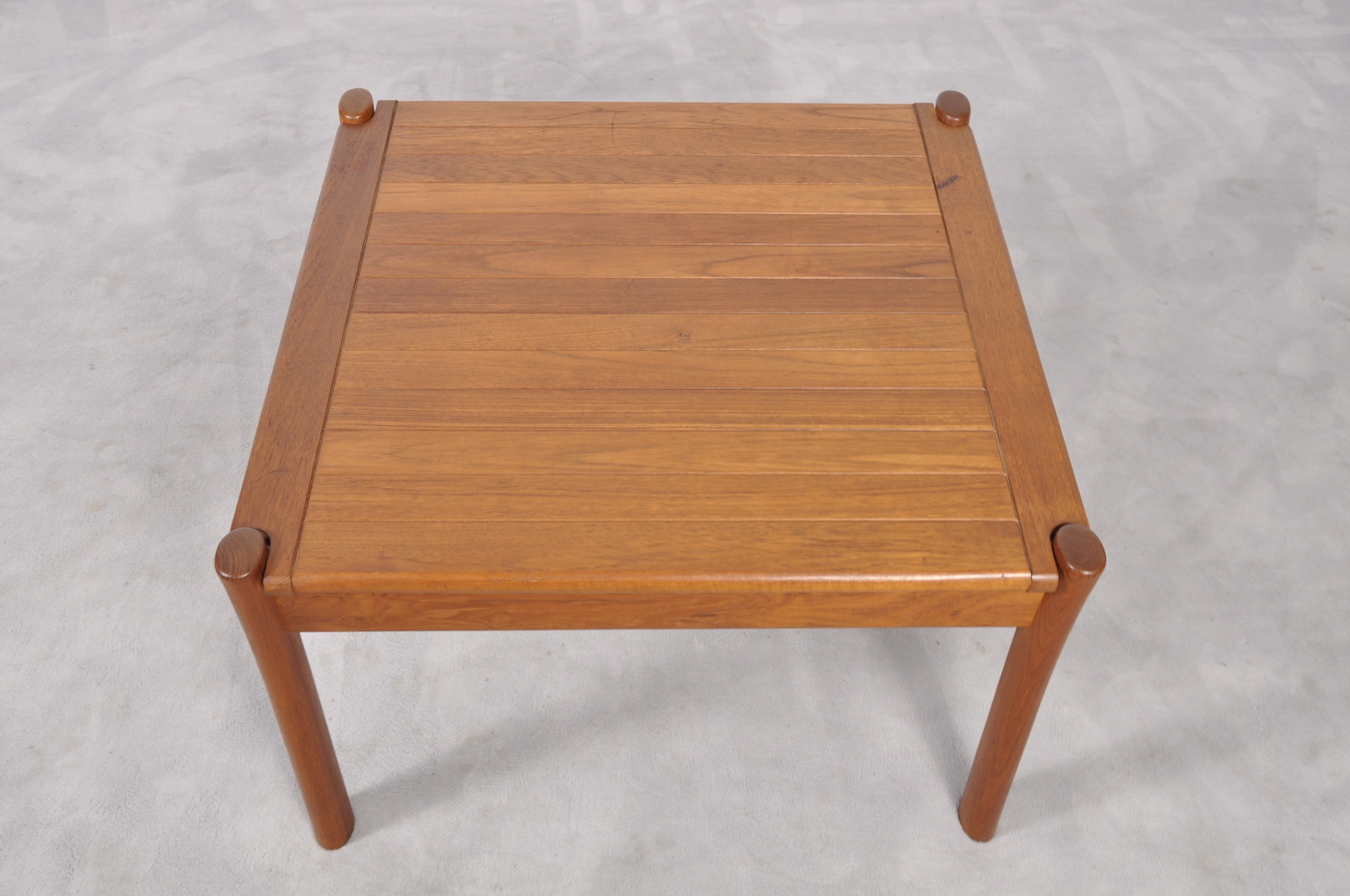 Vintage danish teak coffee table with rounded edges 1960s