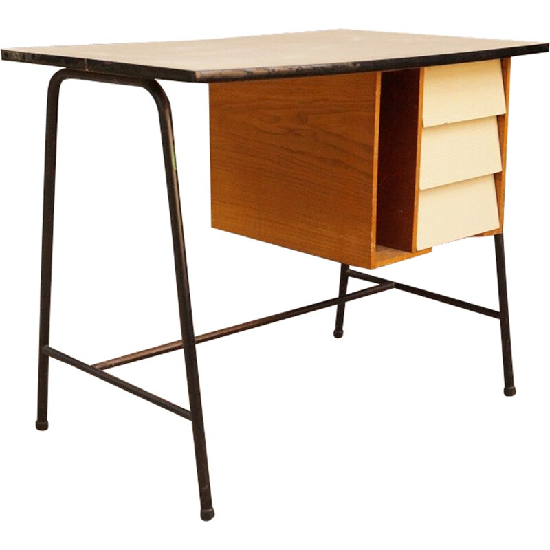 Mid-century white formica and wood desk - 1950s