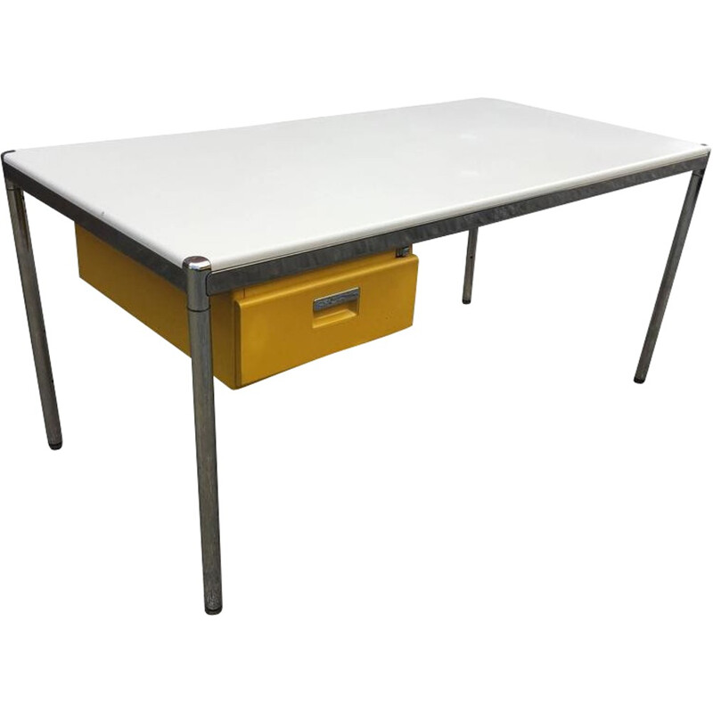 Strafor desk in whte and yellow - 1980s