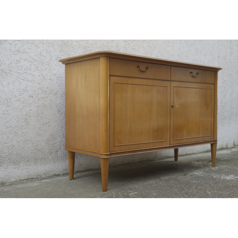 Cherry Wood Sideboard With 2 Doors And Drawers 1950s Vintage Designer Furniture