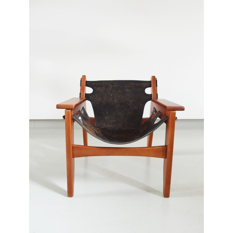 Black easy chair in leather and wood by Sergio Rodrigues produced by Oca - 1960s - Design Market  sc 1 st  Design Market & Black easy chair in leather and wood by Sergio Rodrigues produced by ...
