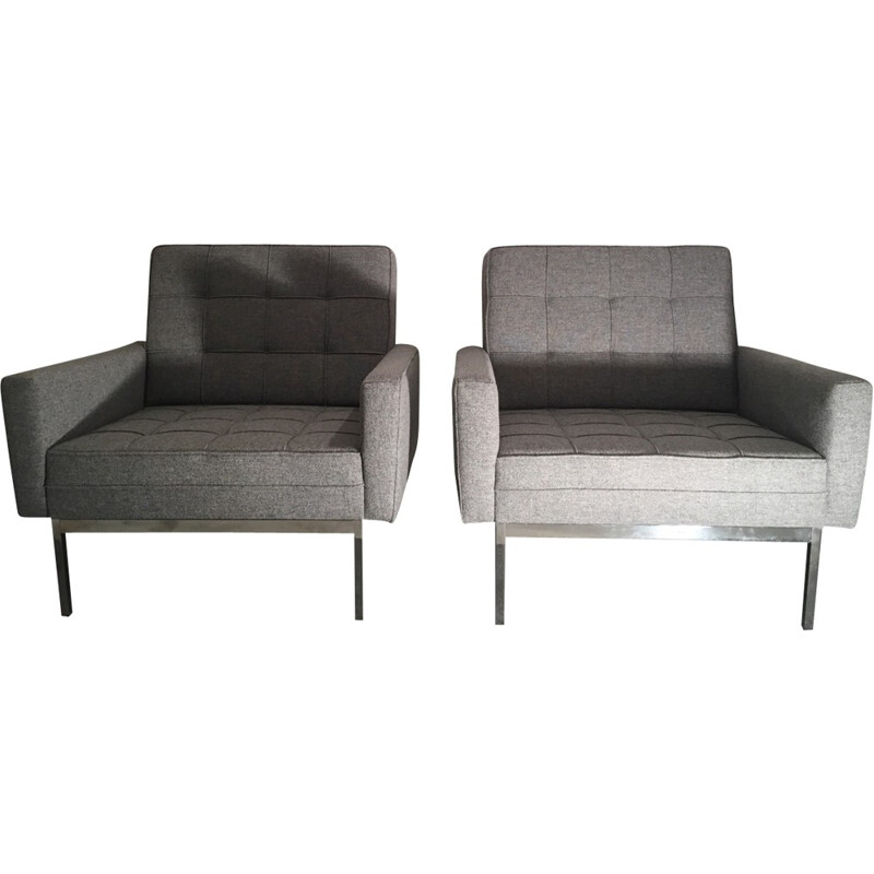 Pair of grey model 65A armchairs by Florence Knoll - 1960s