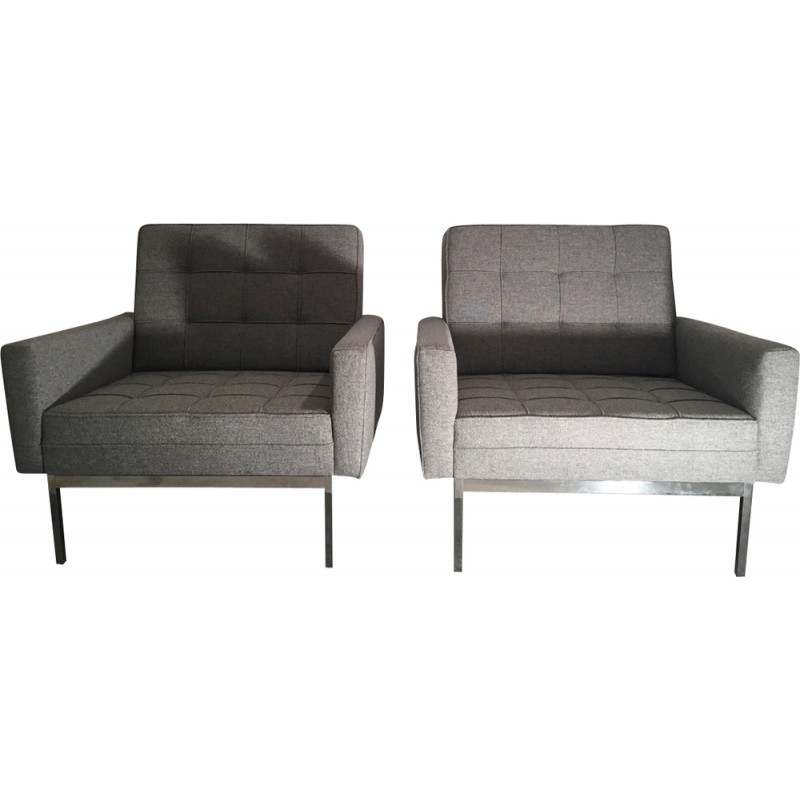 Pair Of Grey Model 65A Armchairs By Florence Knoll   1960s