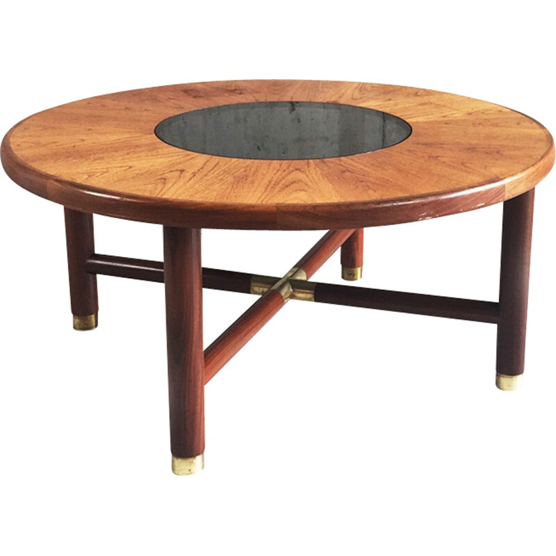 Mid century circular coffee table with smoked glass -  1960s