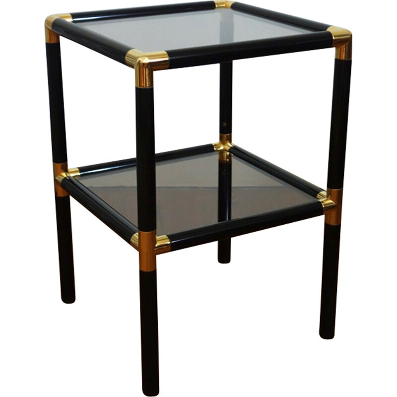 Black side table in glass and metal - 1970s