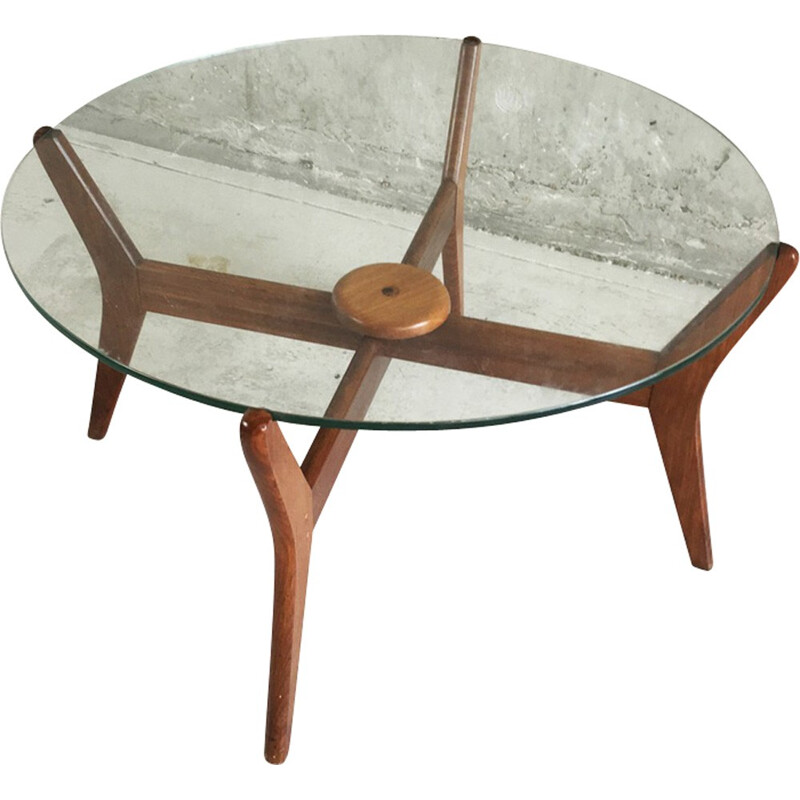 Mid century oak frame circular coffee table - 1960s