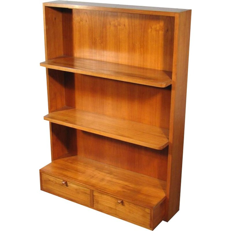 Hanging bookcase in solid cherrywood, Italy - 1970s