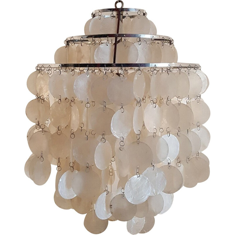 Mother-of-pearl pastilles chandelier by Verner Panton - 1960s