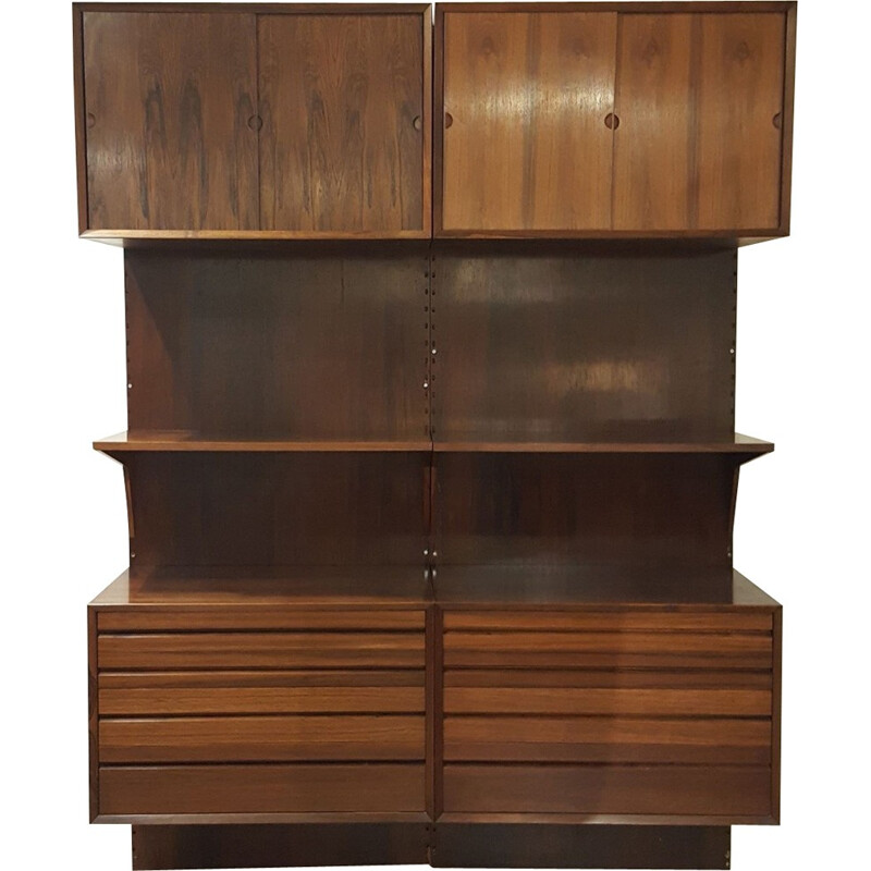 Rosewood wall storage unit de Poul Cadovius for Royal System - 1960s