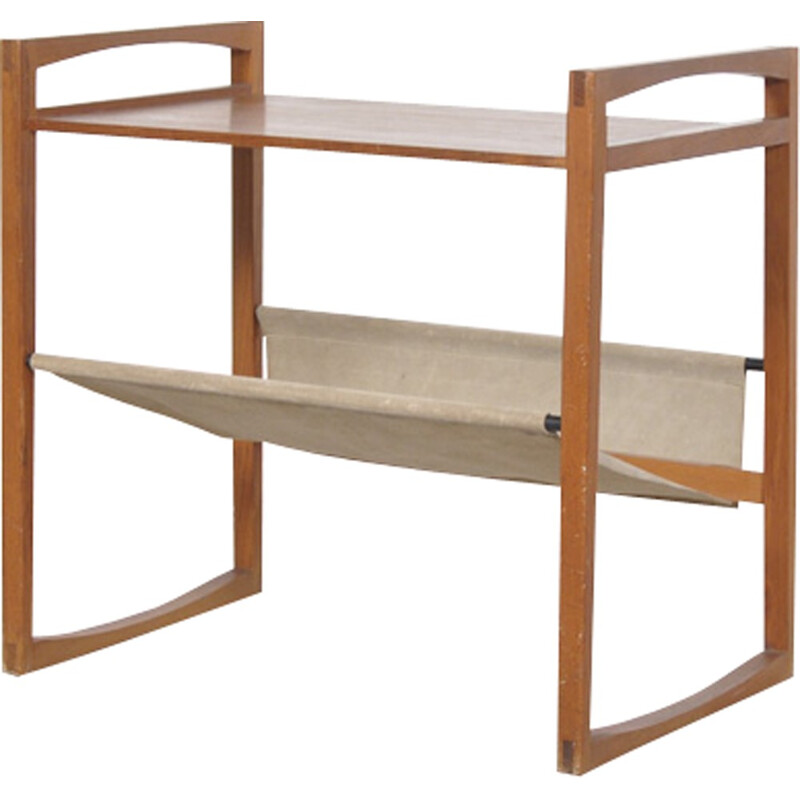 Danish side table with leather magazine rack - 1960s