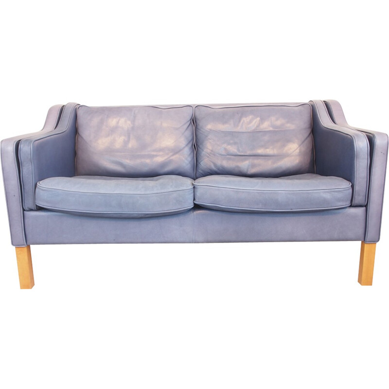 Blue leather sofa by Georg Thams - 1980s