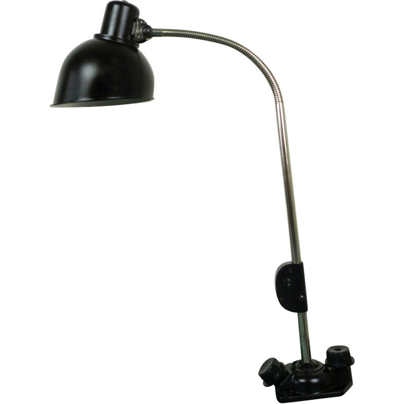 Black desk lamp in metal and bakelite produced by Helion - 1940s