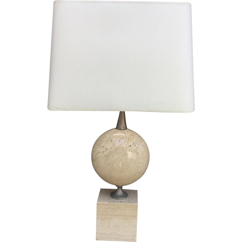 Pair of large travertine lamps - 1970s