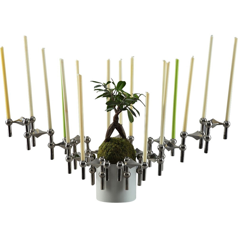 Set of 15 modular candleholders and flowerpot by Nagel, Germany - 1970