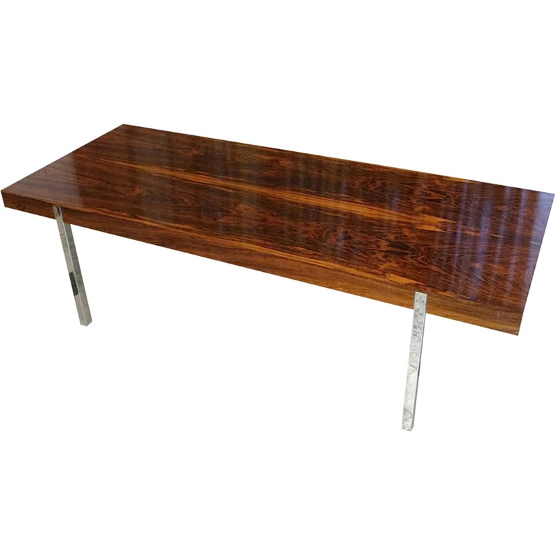 Minimalist rosewood coffee table with chromed steel legs - 1960s