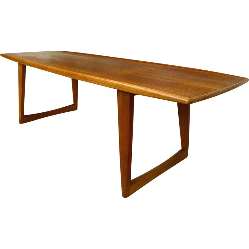 Danish teak coffee table with boat-shaped - 1960s