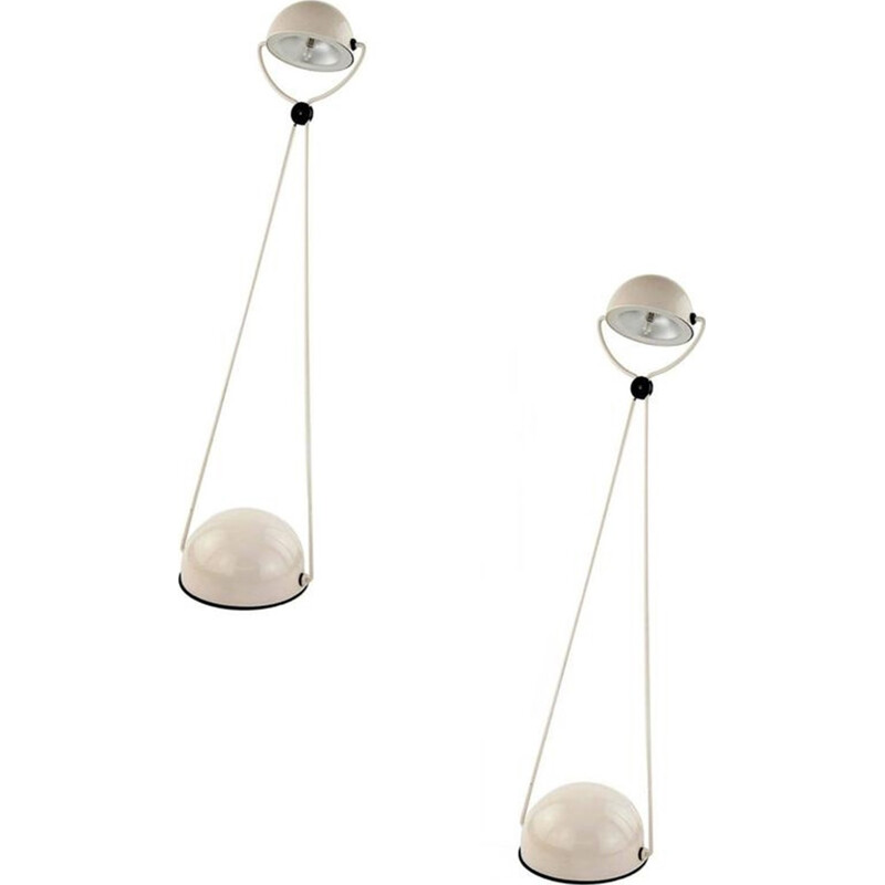 Pair of white metal table lamps by Stefano Cevoli for Vermezzo - 1980s