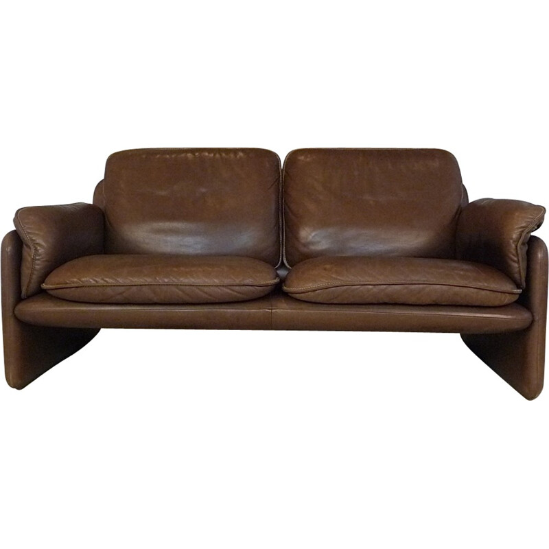 DS61 two-seater brown leather sofa produced by De Sede - 1960s