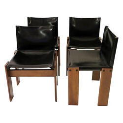 """Set of 4 """"Monk"""" chairs, Tobia and Afra SCARPA - 1970s"""