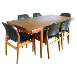 """Set dining table and 6 chairs """"62S"""", Arne VODDER - 1960s"""