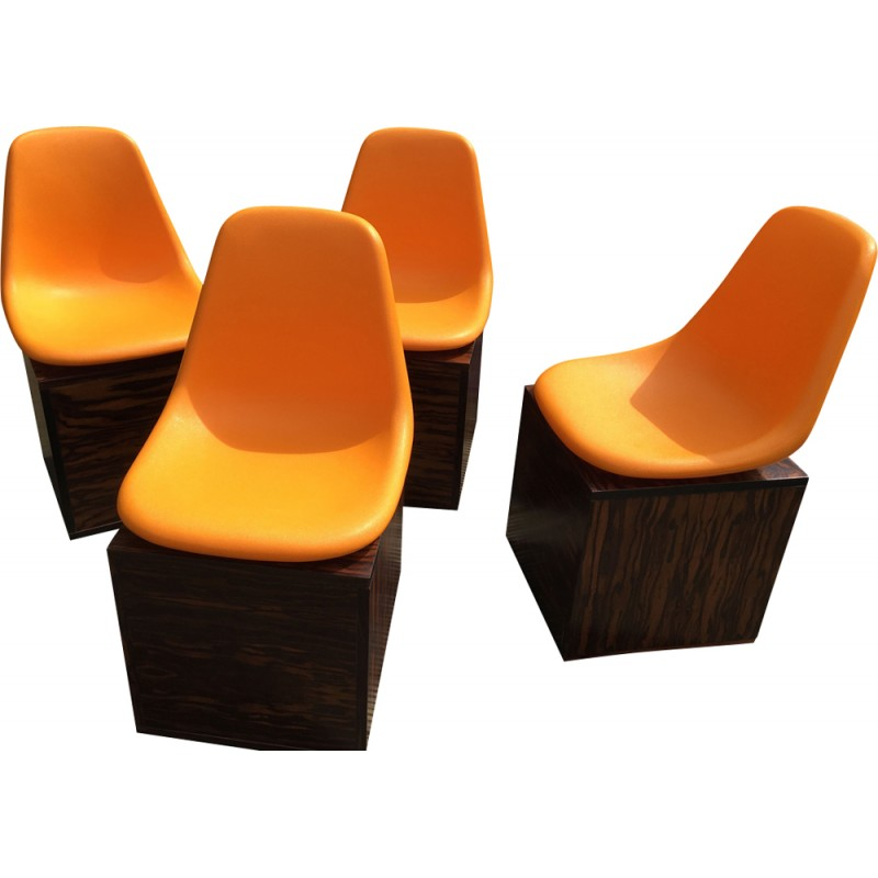 Set Of 4 Rosewood And Orange Plastic Dining Chairs By O.F. Pollak   1980s
