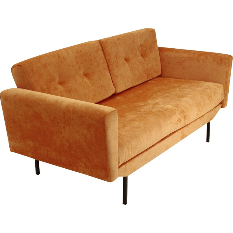 Italian orange velvet sofa bed - 1950s