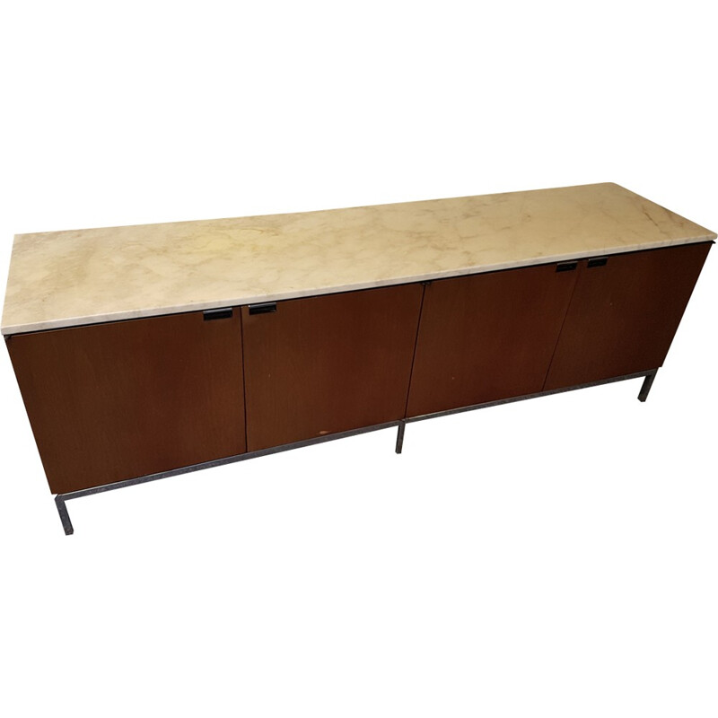 Sideboard in walnut with marble tray by Florence Knoll - 1970s