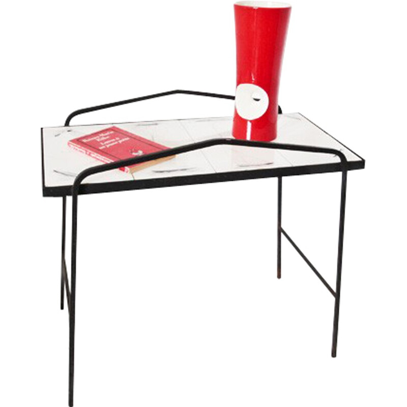 Black side table in ceramics and metal - 1960s