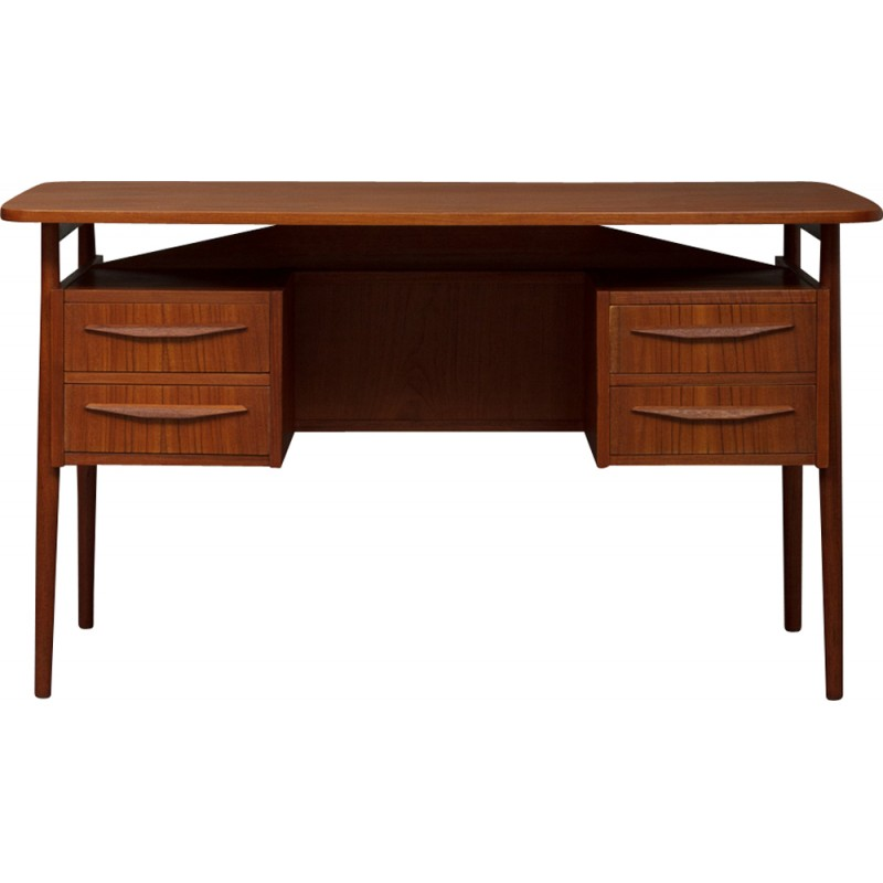 Danish Small Teak Desk By Luno Mobler 1960s