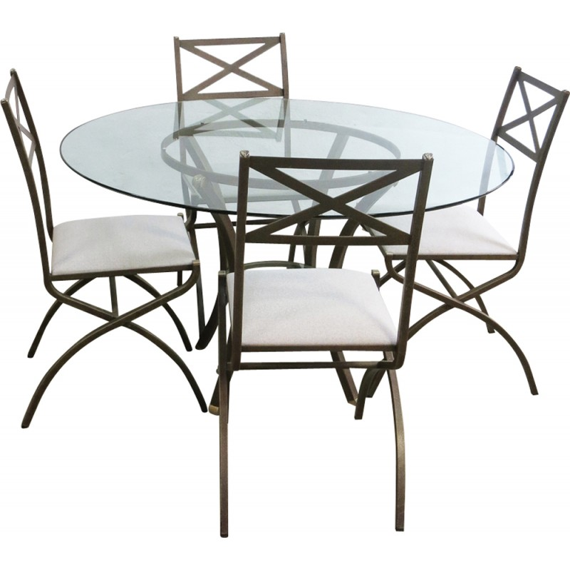 Metal and glass dining set by Pierre Vandel - 1970s