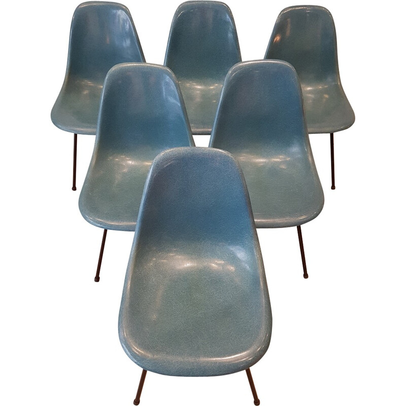 Set of 6 chairs blue jean Charles & Ray Eames for Vitra - 1960s
