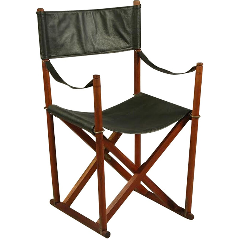 Pair of Mogens Koch Safari folding chairs in teak, brass and black Leather - 1930s