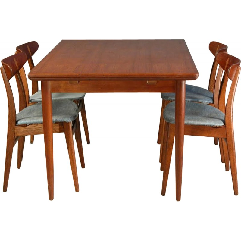 Set Of 4 Oak And Teak Hans J Wegner CH 30 Chairs Extension Dining