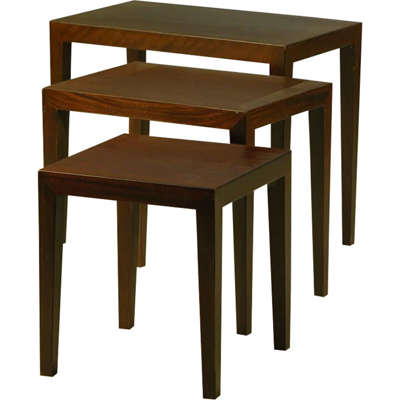Set of 3 nesting tables in rosewood by Severin Hansen for Haslev Møbler - 1960s
