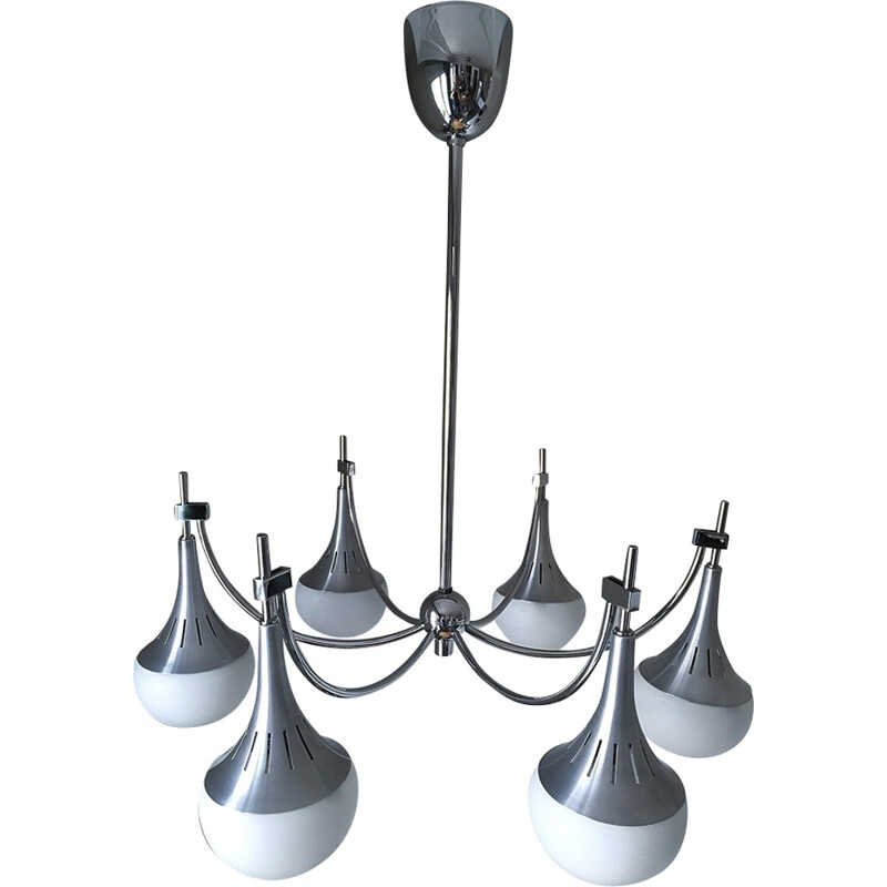 Chandelier with 6 lights in chromium, aluminum and opaline by Gaetano Sciolari - 1960s