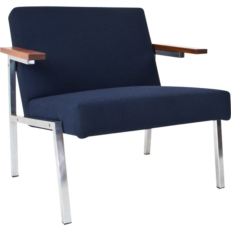 Blue easy chair in chromium and wool by Martin Visser - 1960s