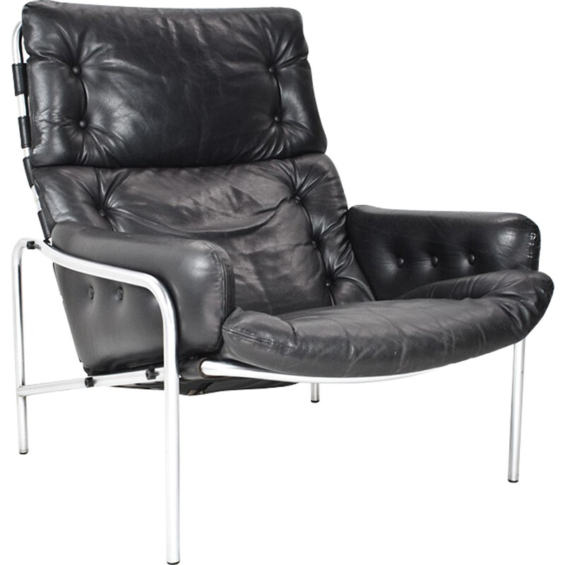 Black leather easy chair by Martin Visser - 1960s