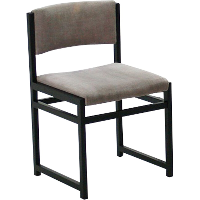 Set of 4 dining chairs with grey velvet seats - 1970s