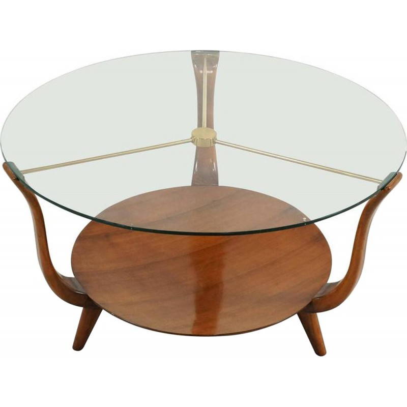 Small Round Italian Coffee Table In Walnut, Brass And A Glass Top   1950s