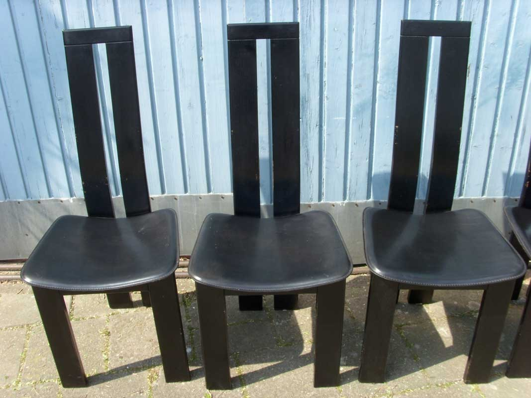 Suite Of 6 Black Dining Chairs Pietro Costantini 1970s