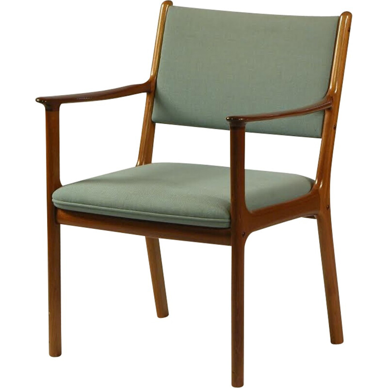 """Set of 5 """"PJ 412"""" armchairs in mahagony and blue fabric by Ole Wanscher - 1960s"""