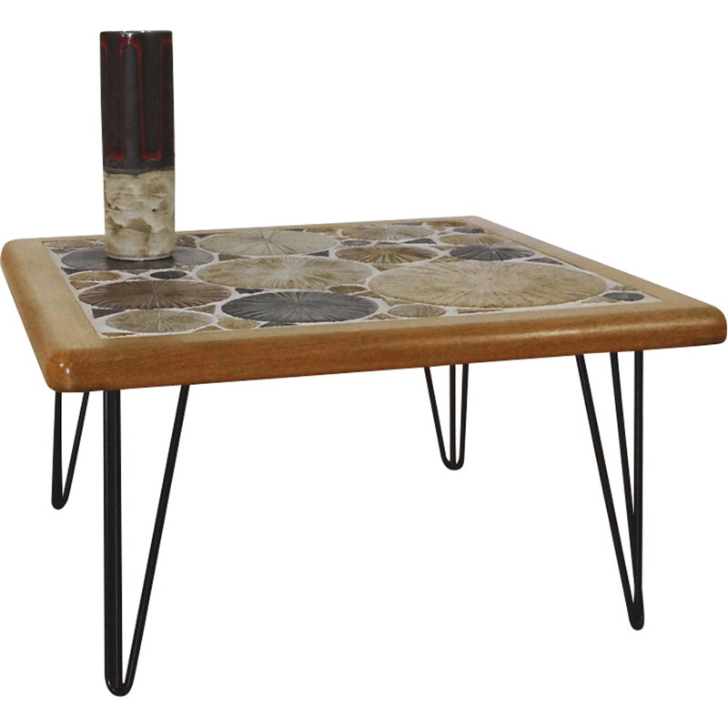Teak coffee table with hairpin legs by Tou Poulsen for Haslev - 1960s