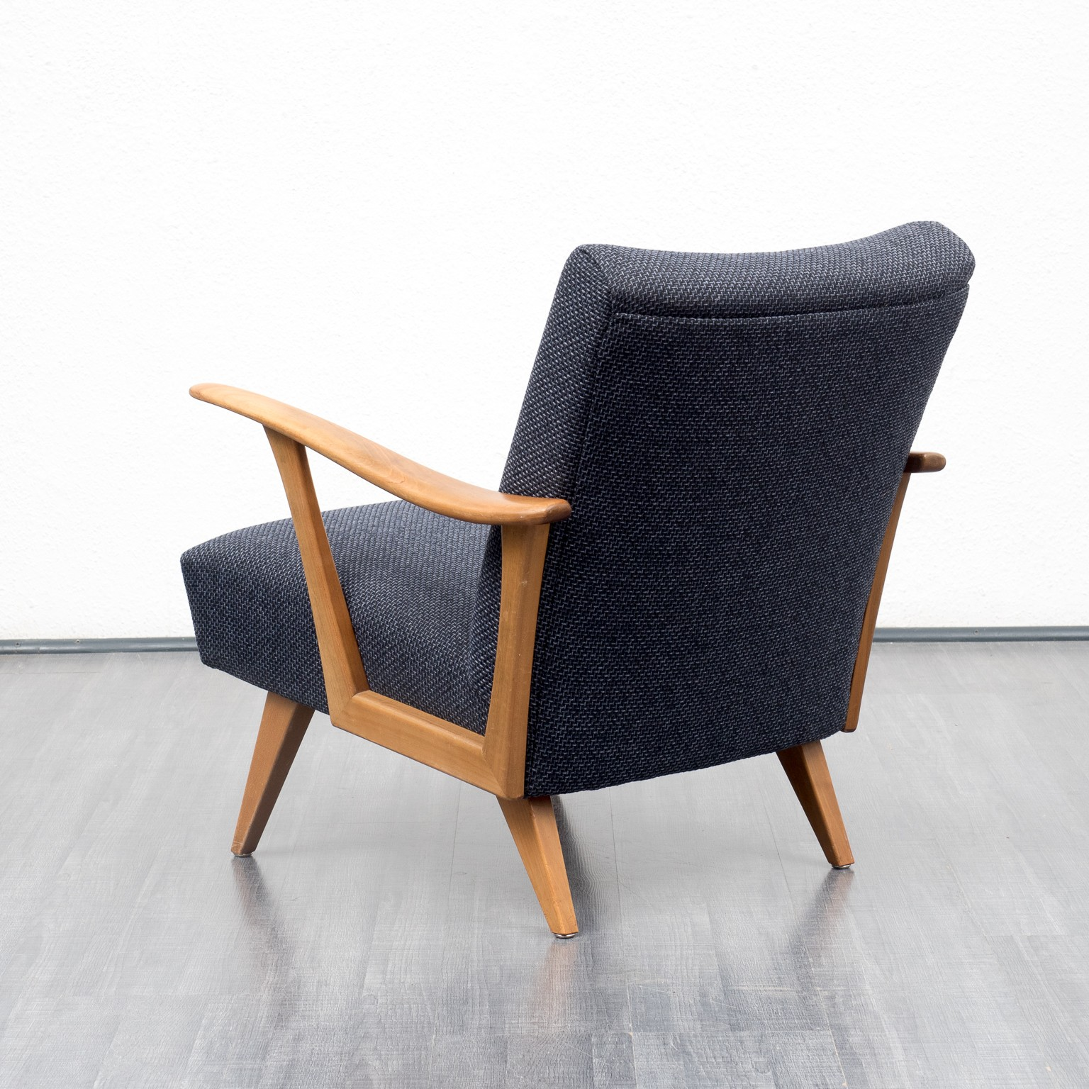 Dark Blue Armchair In Solid Walnut   1950s. Previous Next
