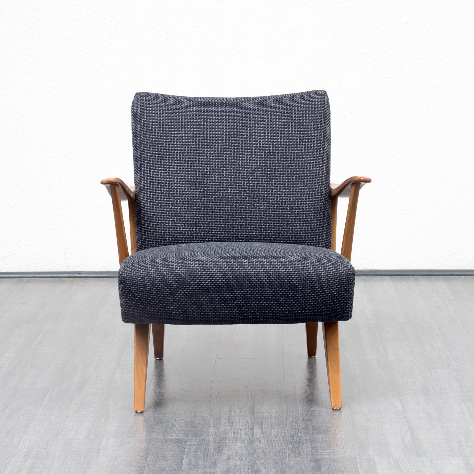 Dark Blue Armchair In Solid Walnut   1950s. Previous Next