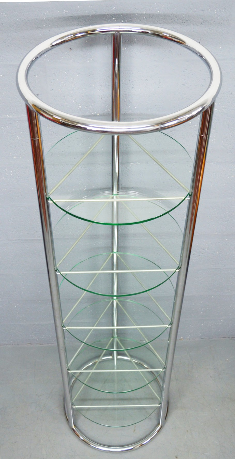 Mid-Century circular chrome and glass display stand - 1970s - Design ...